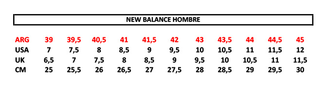 guia tallas new balance mujer